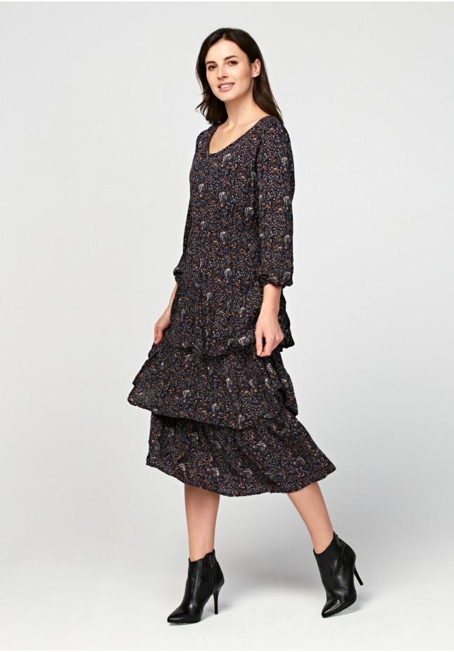 Trapezowa sukienka maxi