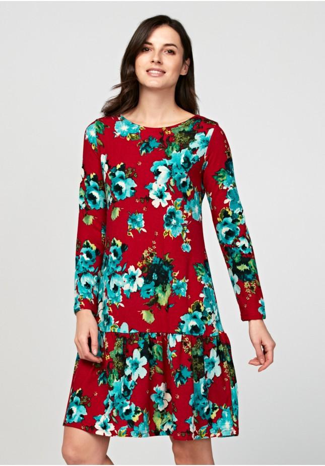 Czerwona sukienka w kwiaty