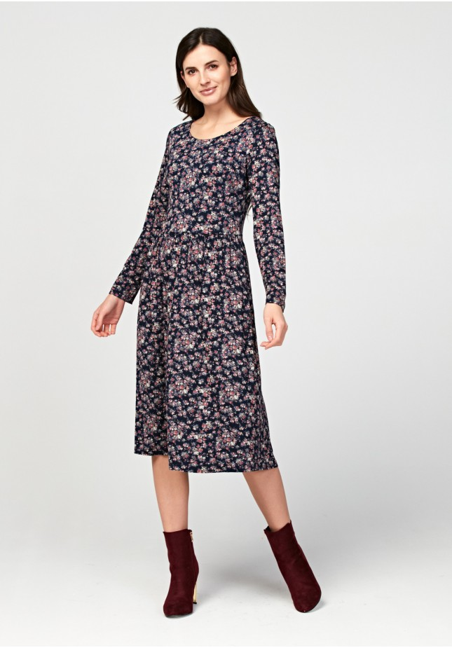 Midi dress with roses