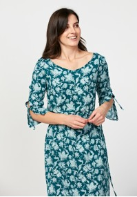 Turkusowa wiązana sukienka