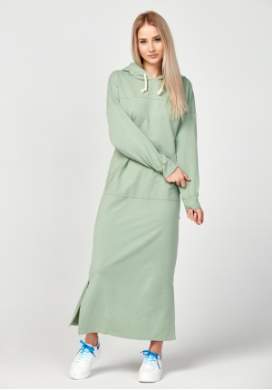 Green kangaroo pocket dress