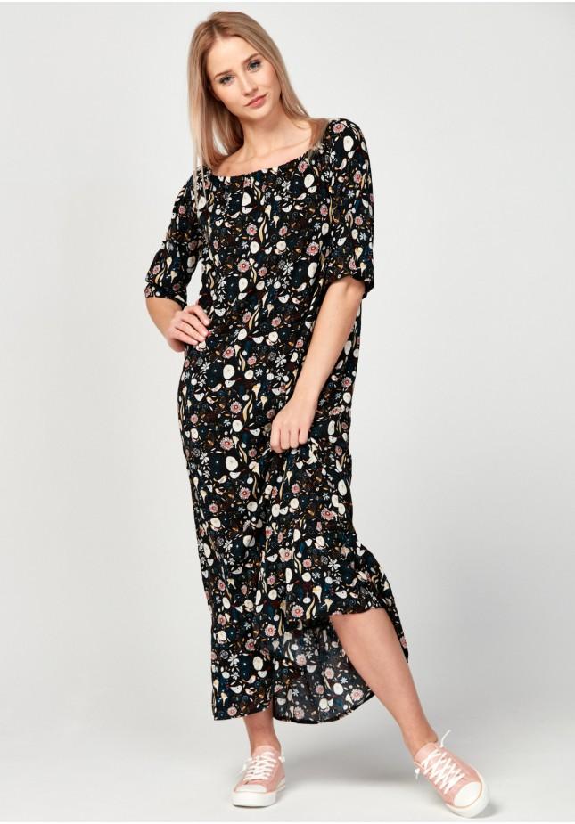 Długa sukienka w kolorowe wzory
