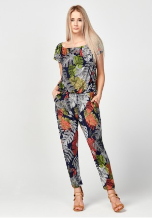 Jumpsuit with colorful leaves