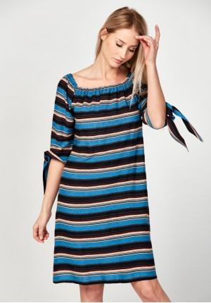 Off the shoulders dress with stripes
