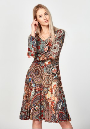 Dress with oriental pattern