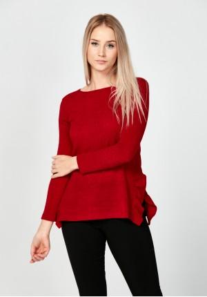 Bordowy sweter z rozcięciami