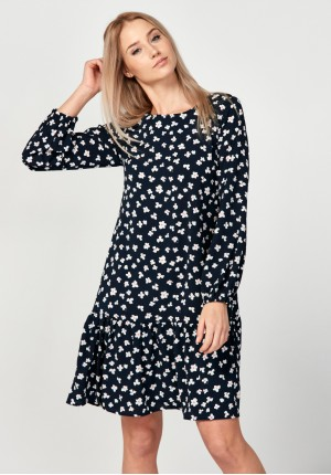 Flowery navy dress