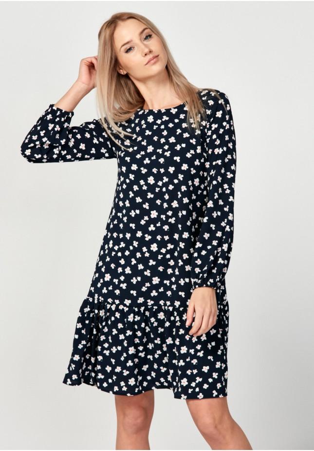 Flowery navy dress