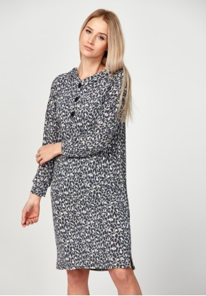 Hoodie dress with leo print