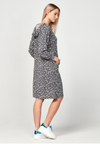 Hoodie dress with leo print