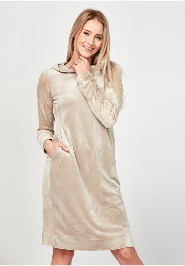 Welurowa beżowa sukienka