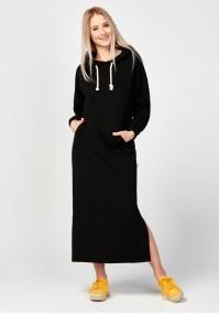 Long black hoodie dress