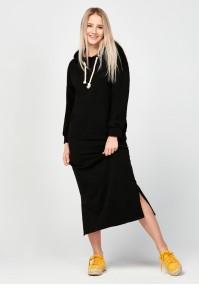 Czarna długa dresowa sukienka