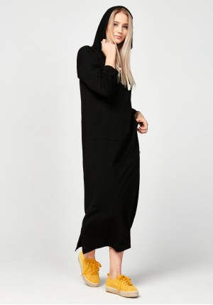 Long black hoodie dress