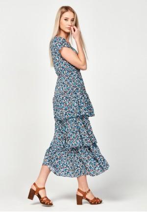 Kwiecista sukienka z falban