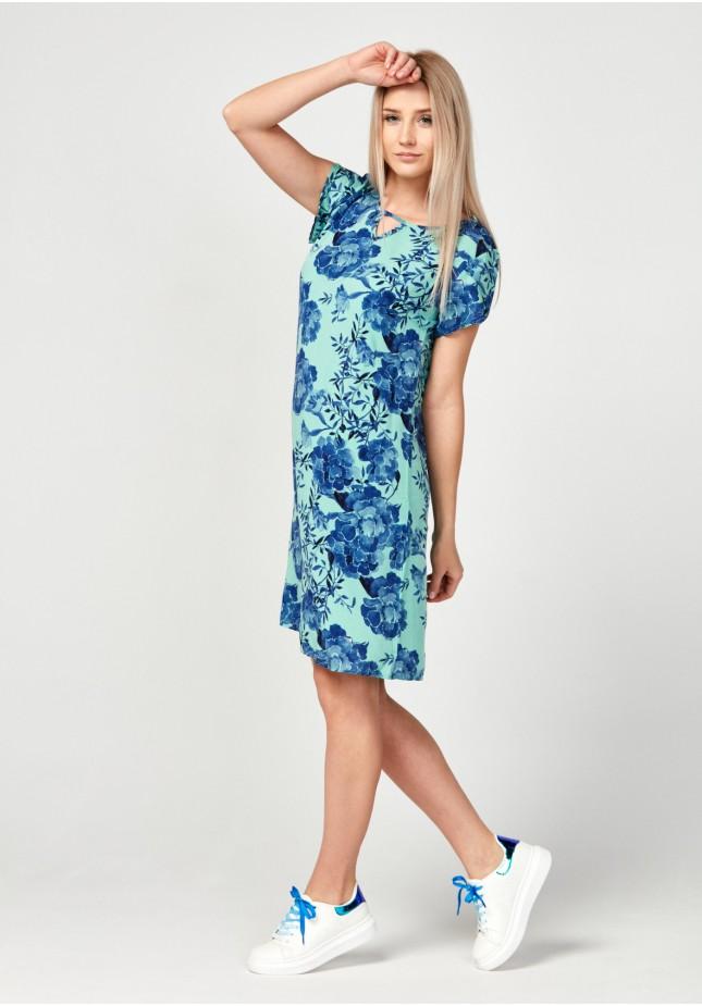 Straight green flowery dress