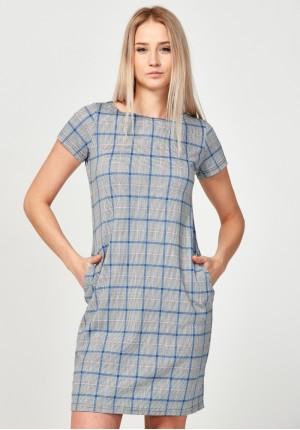 Prosta sukienka w niebieską kratkę