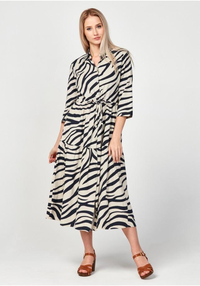 Linen shirt dress with a collar