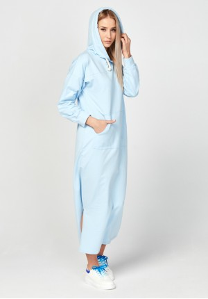 Long blue hoodie dress