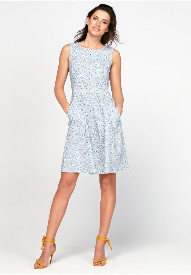 Tapered waist light blue dresss