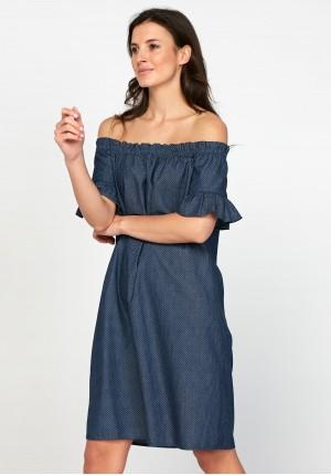 Jeansowa sukienka w groszki