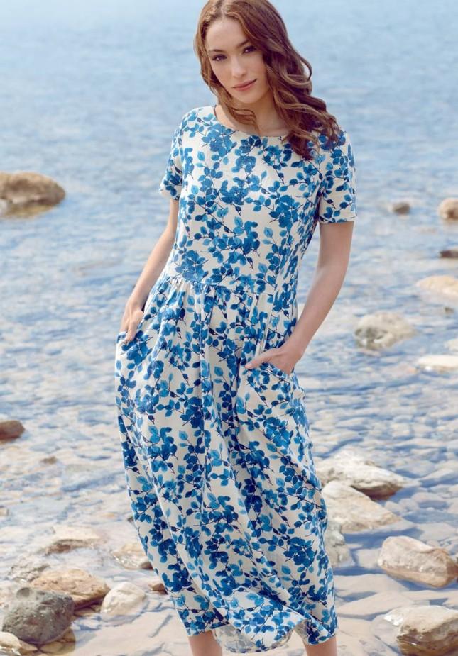 Lniana długa sukienka w niebieskie liście