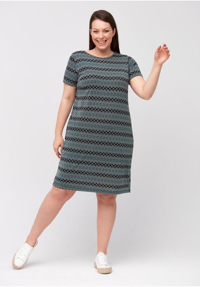 Prosta sukienka w zielony wzór