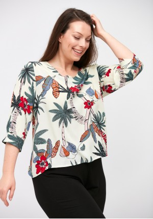 Blouse with ccolorful leaves