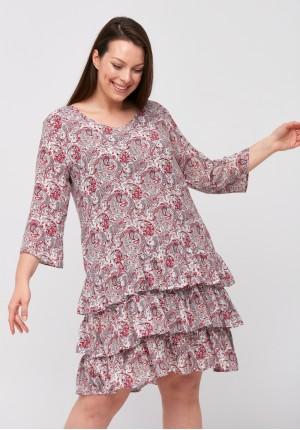 Biało-czerwona sukienka paisley