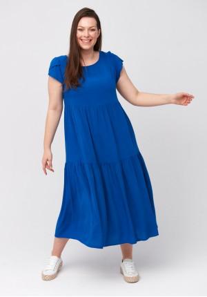 Ciemnoniebieska trapezowa sukienka