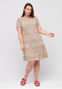 Beige dress with frill