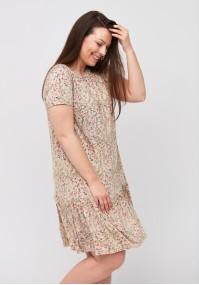 Beżowa sukienka z falbanką