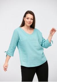 Lniana bluzka z wiązaniem