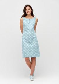 Błękitna sukienka w białe rozety
