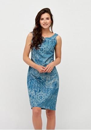 Jeansowa sukienka w plamki