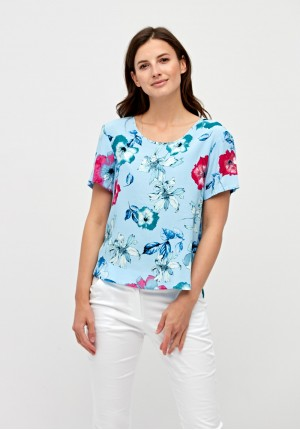 Light blue blouse with flowers