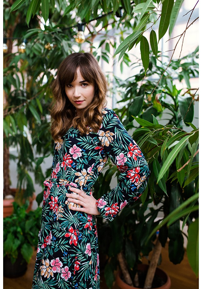 Dress with tropical pattern