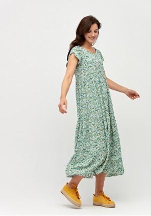 Midi zielona sukienka w kwiatki
