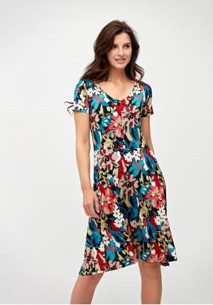 Odcinana kolorowa sukienka
