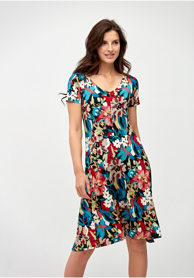 Tapered waist colorful dress
