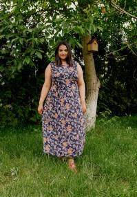 Granatowa sukienka maxi bez rękawów
