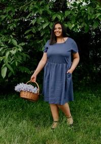 Granatowa sukienka z kieszeniami