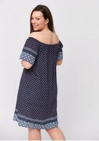 Navy blue off-shoulder dress