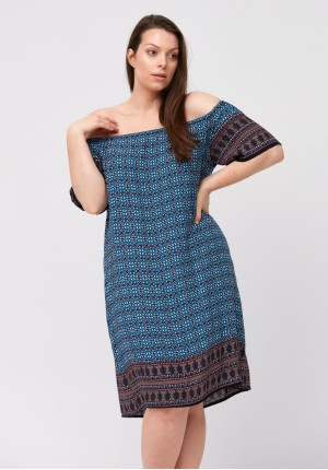 Blue off-shoulder dress with geometric pattern