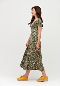 Midi dress with yellow flowers