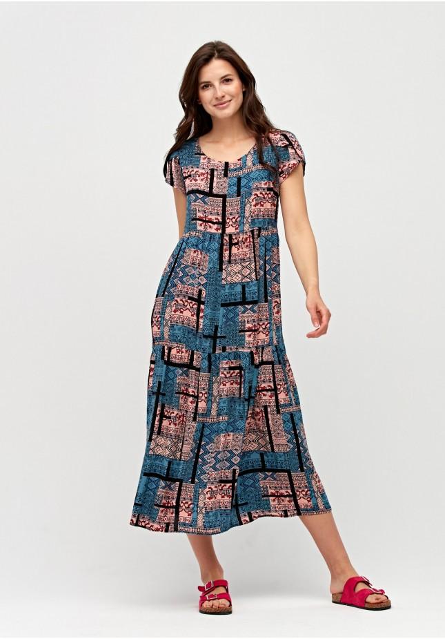 Midi dress with ethnic pattern