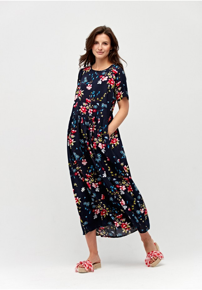 Navy blue dress with flowers
