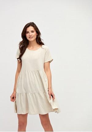Beżowa sukienka z kieszeniami