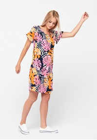 Dress with colorful leaves