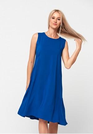 Trapezoidal blue dress